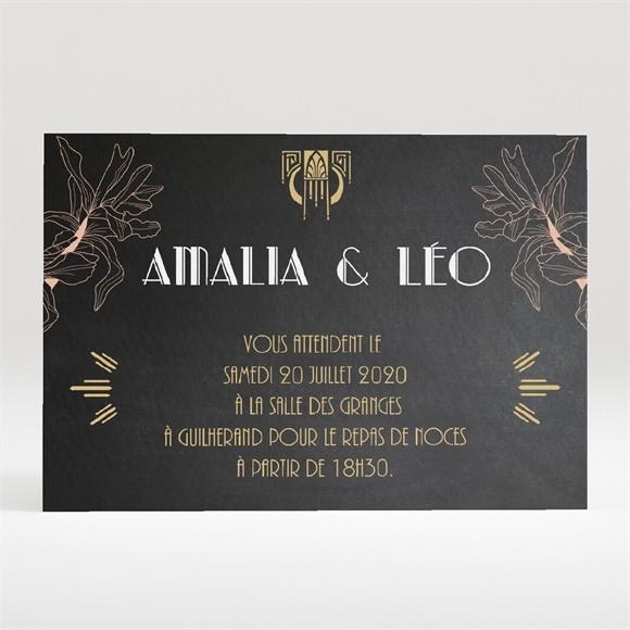 Carton d'invitation mariage Art deco ardoise réf.N120285