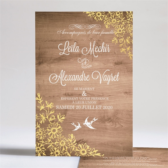 Faire-part mariage Fond en bois réf.N24168