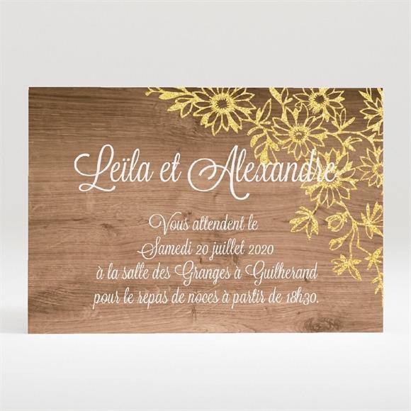 Carton d'invitation mariage Fond en bois réf.N120290