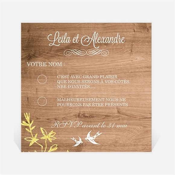 Carton réponse mariage Fond en bois réf.N300350