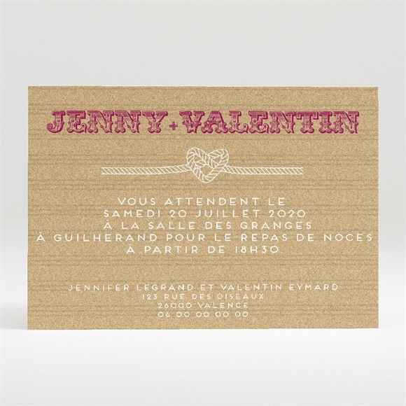 Carton d'invitation mariage On s'unit réf.N120291