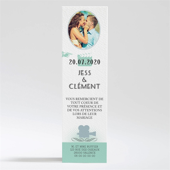 Remerciement mariage Ticket cinema réf.N200308