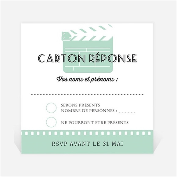 Carton réponse mariage Ticket cinema réf.N300352