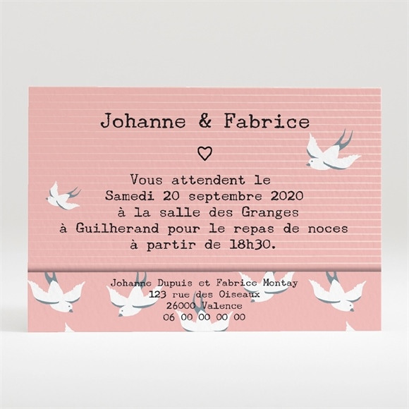 Carton d'invitation mariage Nos motifs hirondelles réf.N120293