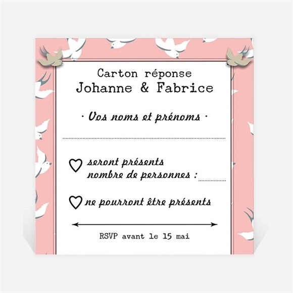 Carton réponse mariage Nos motifs hirondelles réf.N300353