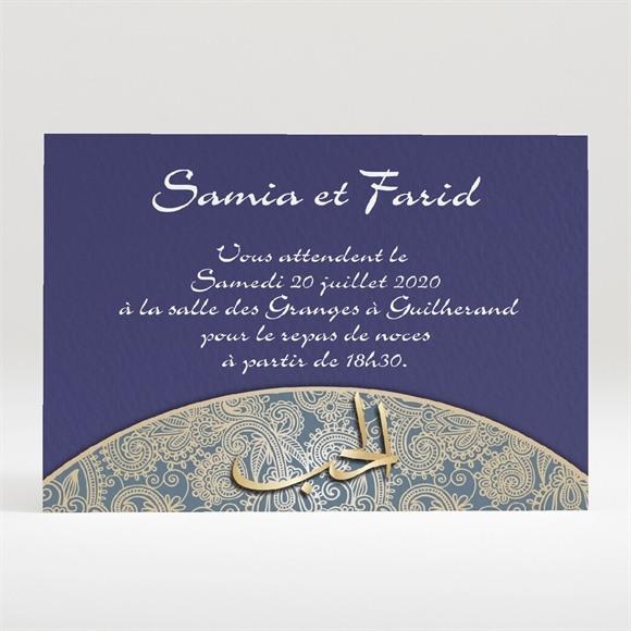 Carton d'invitation mariage Bleu nuit et or réf.N120295