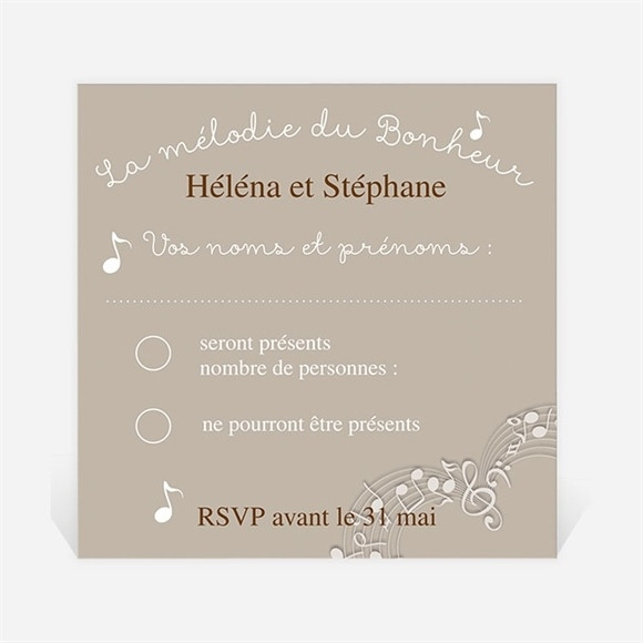 Carton réponse mariage Thème musical réf.N300356