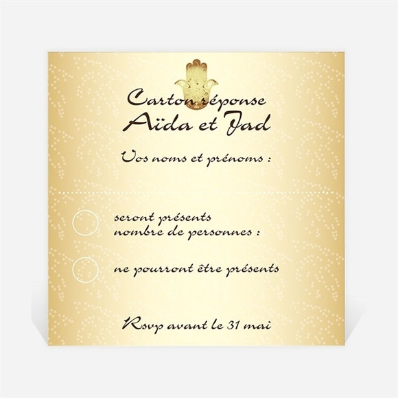 Carton réponse mariage Féerique et scintillant réf.N300357