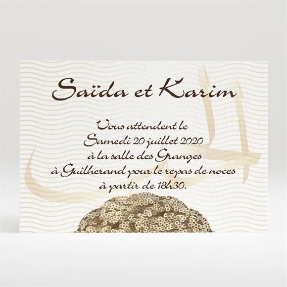 Carton d'invitation mariage Soleil et or réf.N120298