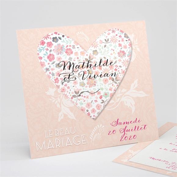 Faire-part mariage Coeur en Liberty réf.N311100
