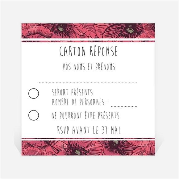 Carton réponse mariage Champs de coquelicots réf.N300362