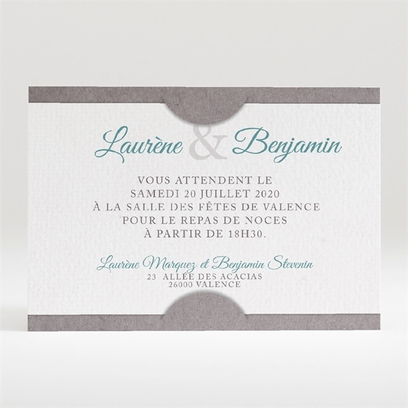 Carton d'invitation mariage Liberty texturé réf.N120304