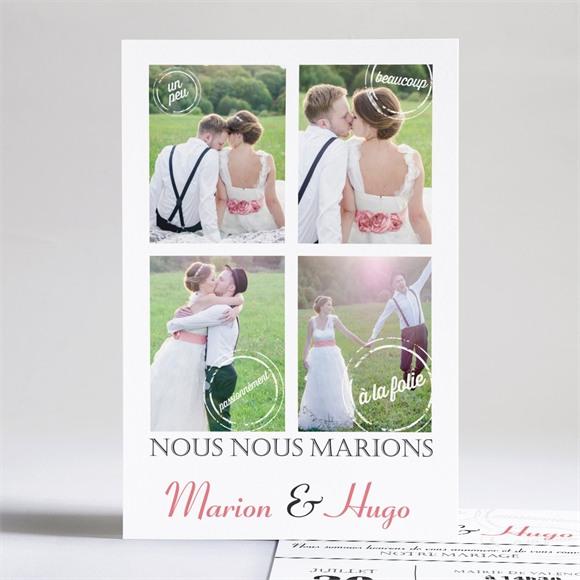 Faire-part mariage Photomaton et tampons réf.N24171