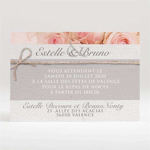 Carton d'invitation mariage Jeu de fleurs et textures réf.N120306