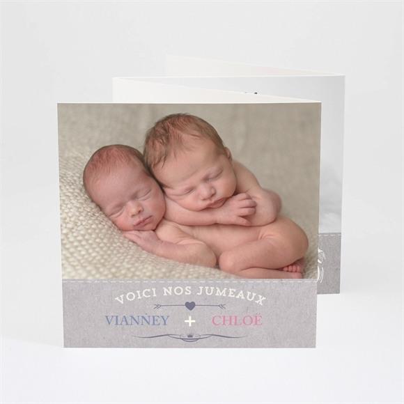Faire-part naissance Annonce jumeaux originale réf.N83011