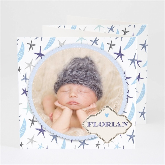 Faire-part naissance Médaillon étoilé réf.N83013