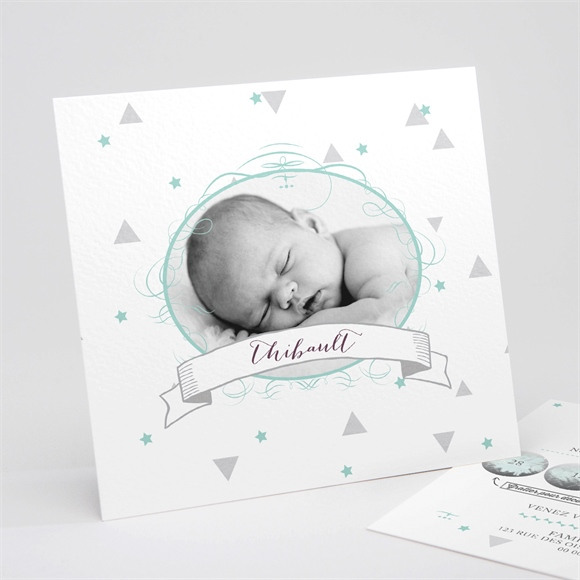 Faire-part naissance Motifs et pastilles réf.N311106