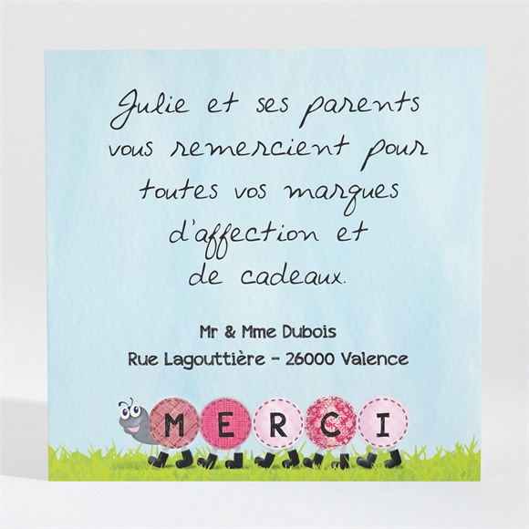 Remerciement naissance Notre chenille humour réf.N300394