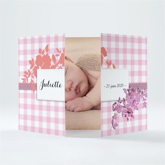 Faire-part naissance Petit Damier Rose avec photo réf.N70150