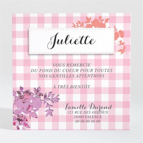 Remerciement naissance Petit Damier Rose avec photo réf.N300418