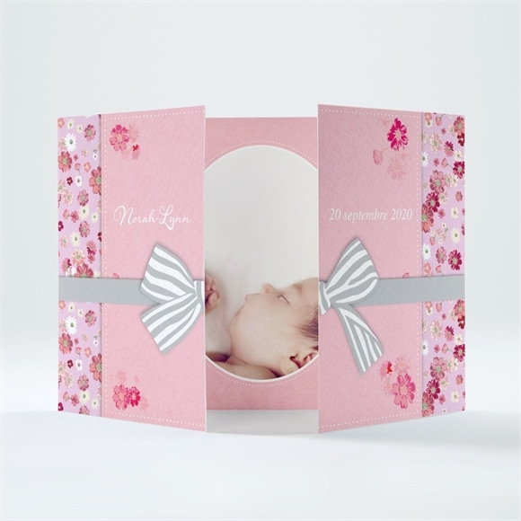 Faire-part naissance Triptyque rose photo réf.N70151