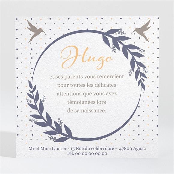 Remerciement naissance Médaillon oiseau garçon réf.N300443