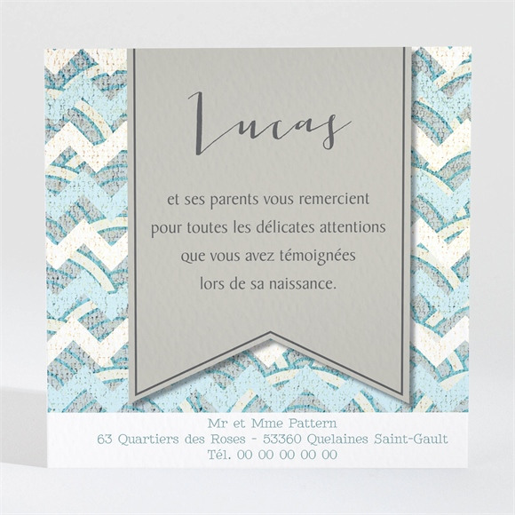 Remerciement naissance Petits Motifs et Landau réf.N300450