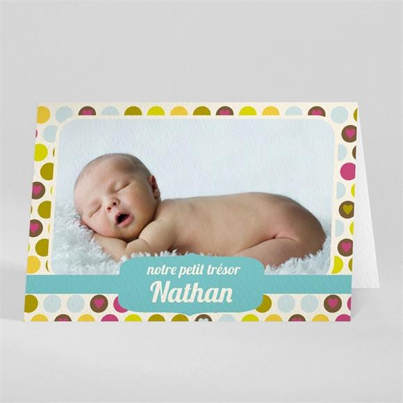 Faire-part naissance Pastilles et petits pois réf.N401458