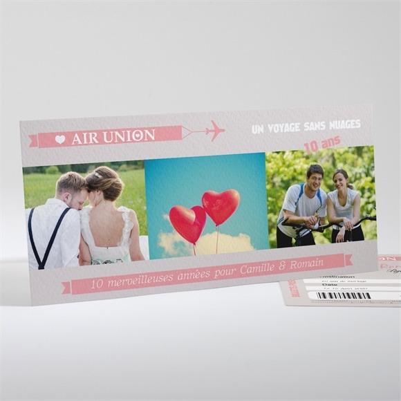 Invitation anniversaire de mariage Invitation Air Union réf.N13133