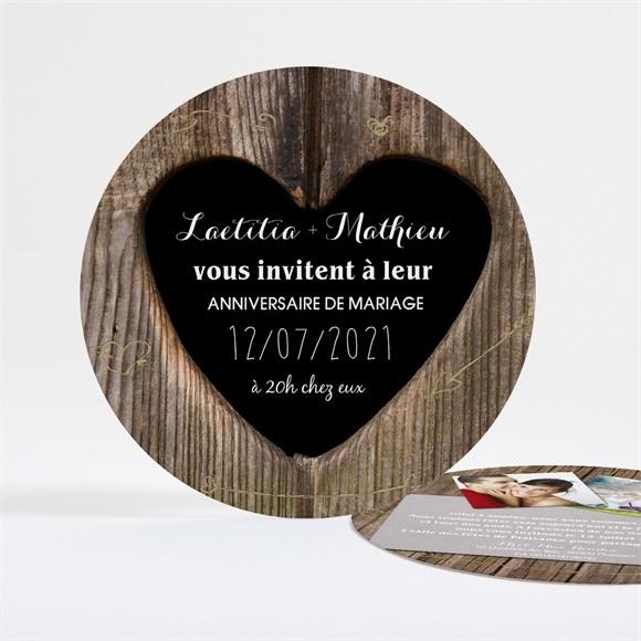 Invitation anniversaire de mariage Les noces de bois réf.N32168