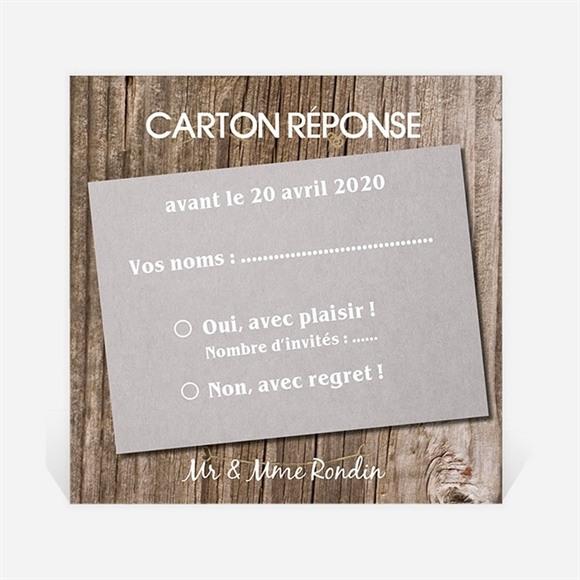 Carton réponse anniversaire de mariage Les noces de bois réf.N300461