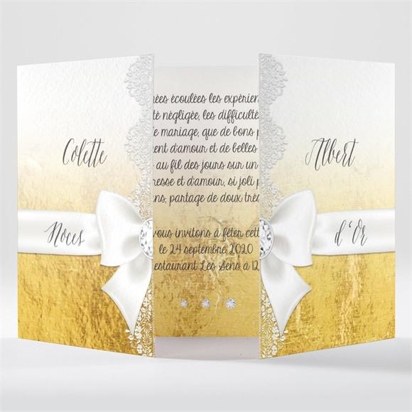 Invitation anniversaire de mariage Joli Noeud Or réf.N70154