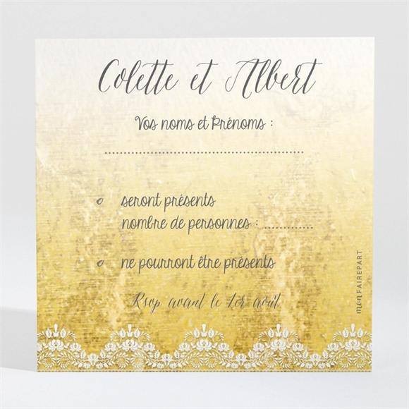 Carton réponse anniversaire de mariage Joli Noeud Or réf.N300466