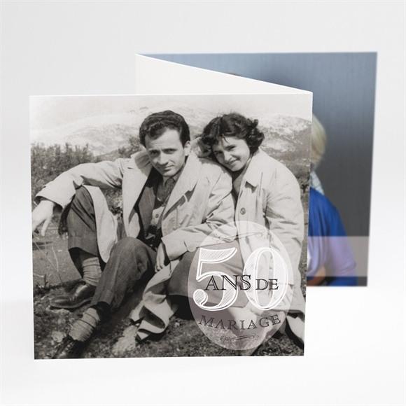 Invitation anniversaire de mariage Notre Roman photo accordéon réf.N81034