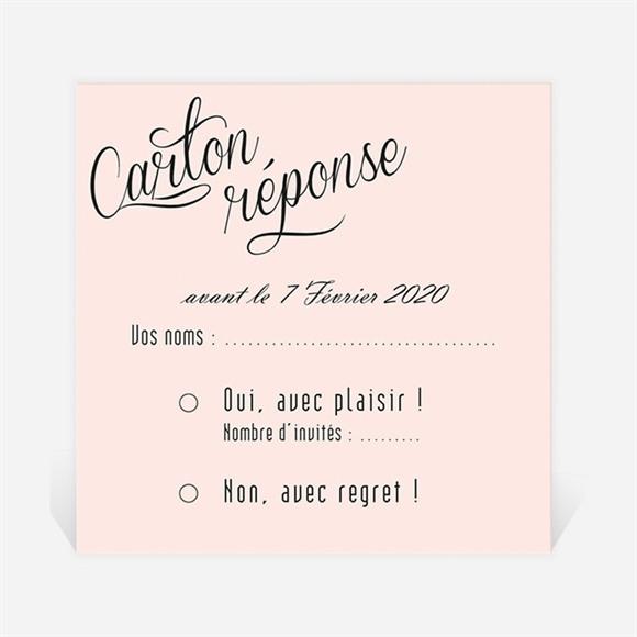 Carton réponse anniversaire de mariage carte anniversaire rose poudré réf.N300472