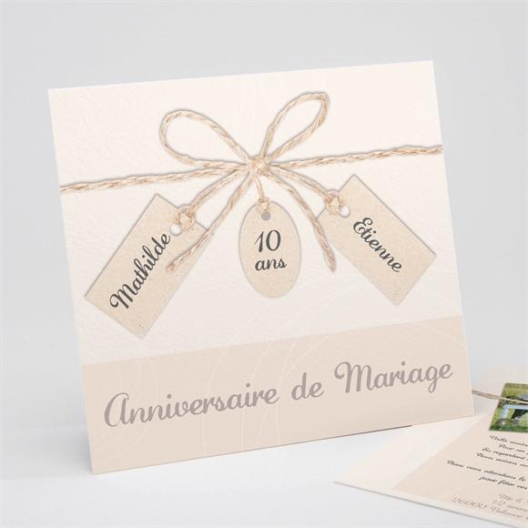 Invitation anniversaire de mariage Ficelle pastel trompe l'oeil réf.N311127