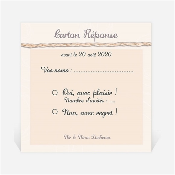 Carton réponse anniversaire de mariage Ficelle pastel trompe l'oeil réf.N300475