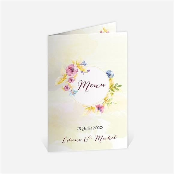 Menu anniversaire de mariage Invitation Jardin fleuri réf.N401491