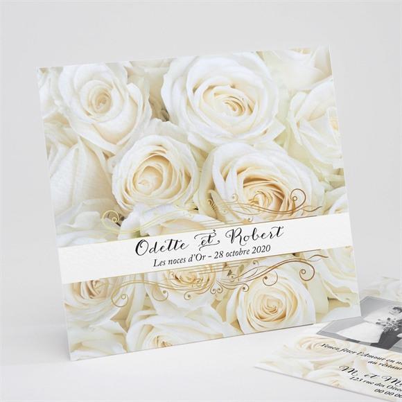 Invitation anniversaire de mariage Lit de roses blanches réf.N311132