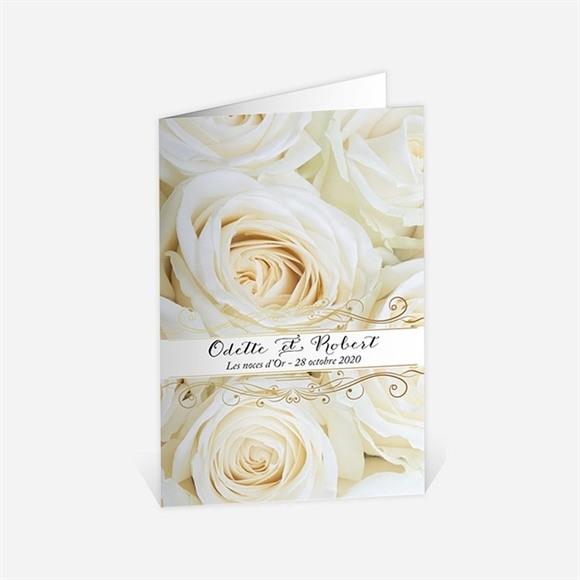 Menu anniversaire de mariage Lit de roses blanches réf.N401495