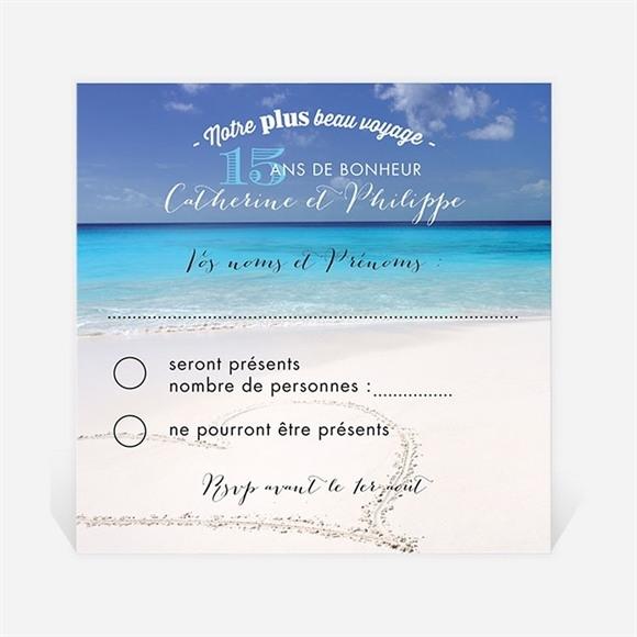 Carton réponse anniversaire de mariage Venez voyager avec nous ! réf.N300485
