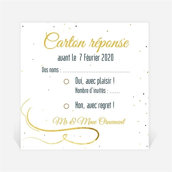 Carton réponse anniversaire de mariage Carte invitation fun réf.N300490