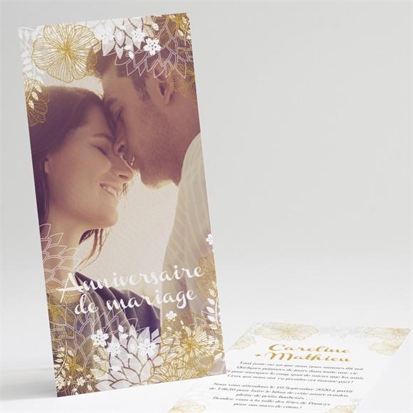 Invitation anniversaire de mariage jardin de fleurs dorées réf.N22132