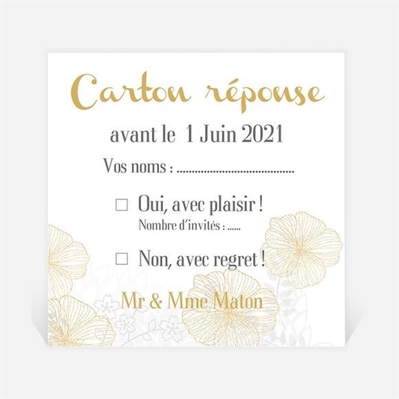 Carton réponse anniversaire de mariage jardin de fleurs dorées réf.N300492