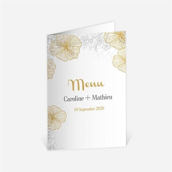 Menu anniversaire de mariage jardin de fleurs dorées réf.N401506