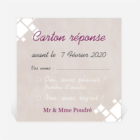 Carton réponse anniversaire de mariage Patchwork photo losanges réf.N300496