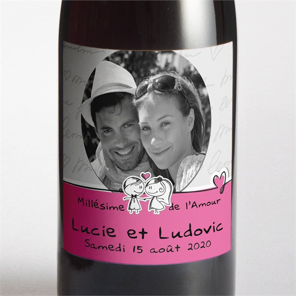 Etiquette de bouteille mariage Amoureux illustrés réf.N300505