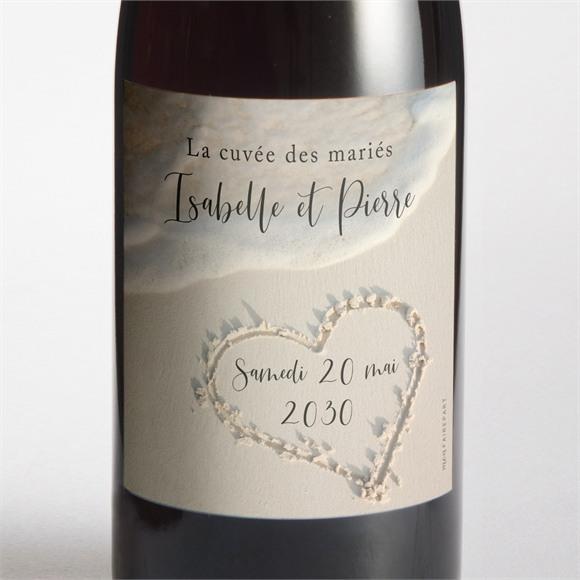 Etiquette de bouteille mariage Dans le Sable réf.N300510