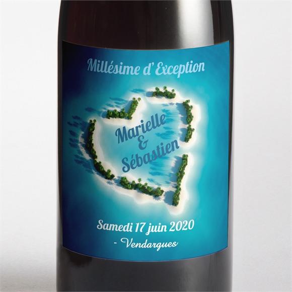 Etiquette de bouteille mariage Eaux turquoises réf.N300513