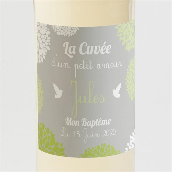 Etiquette de bouteille baptême Cadre végétal chic réf.N300516